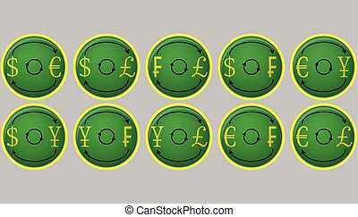 Currency exchange icon buttons