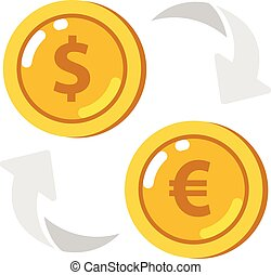 Currency exchange icon. Coin with dollar, euro sign.