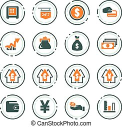 Currency exchange icons set - Currency exchange vector icons...