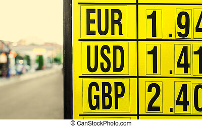 Currency exchange rates board at street