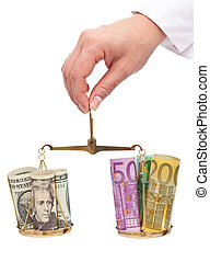 Currency exchange rates concept with dollars and euros on a scale - isolated