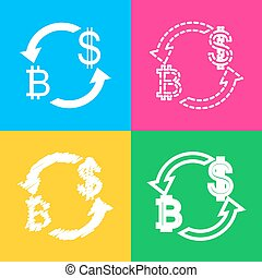 Currency exchange sign. Bitcoin and US Dollar. Four styles of icon on four color squares.