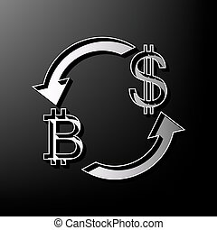 Currency exchange sign. Bitcoin and US Dollar. Vector. Gray 3d printed icon on black background.