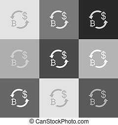 Currency exchange sign. Bitcoin and US Dollar. Vector. Grayscale version of Popart-style icon.