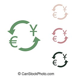 Currency exchange sign. Dollar and Euro. Russian green icon with small jungle green, puce and desert sand ones on white background. Illustration.