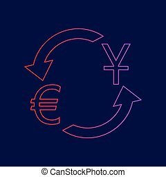 Currency exchange sign. Dollar and Euro. Vector. Line icon with gradient from red to violet colors on dark blue background.