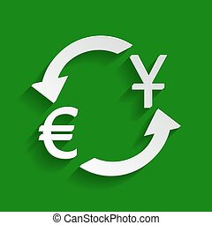 Currency exchange sign. Dollar and Euro. Vector. Paper whitish icon with soft shadow on green background.