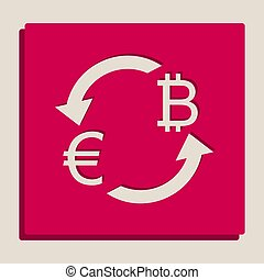Currency exchange sign. Euro and Bitcoin. Vector. Grayscale version of Popart-style icon.