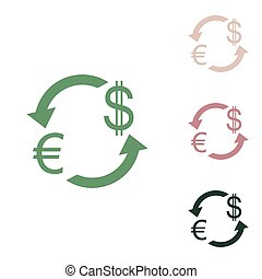 Currency exchange sign. Euro and Dollar. Russian green icon with small jungle green, puce and desert sand ones on white background. Illustration.