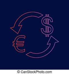 Currency exchange sign. Euro and Dollar. Vector. Line icon with gradient from red to violet colors on dark blue background.