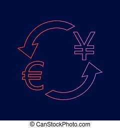 Currency exchange sign. Euro and Japan Yen. Vector. Line icon with gradient from red to violet colors on dark blue background.