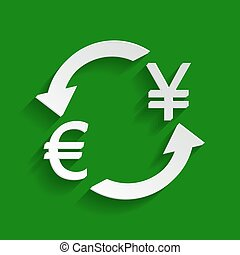 Currency exchange sign. Euro and Japan Yen. Vector. Paper whitish icon with soft shadow on green background.