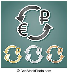Currency exchange sign. Euro and Russia Ruble. Set of metallic Icons with gray, gold, silver and bronze gradient with white contour and shadow at viridan background. Illustration.
