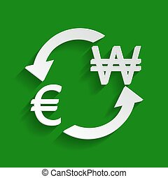 Currency exchange sign. Euro and South Korea Won. Vector. Paper whitish icon with soft shadow on green background.