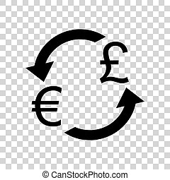 Currency exchange sign. Euro and UK Pound. Black icon on transpa