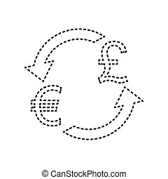 Currency exchange sign. Euro and UK Pound. Vector. Black dashed icon on white background. Isolated.