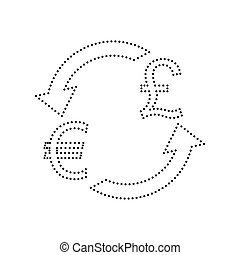Currency exchange sign. Euro and UK Pound. Vector. Black dotted icon on white background. Isolated.