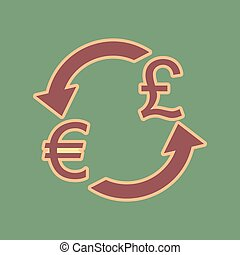 Currency exchange sign. Euro and UK Pound. Vector. Cordovan icon