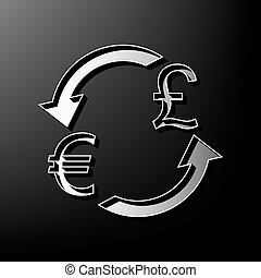 Currency exchange sign. Euro and UK Pound. Vector. Gray 3d printed icon on black background.