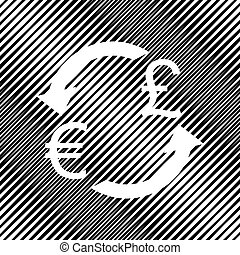 Currency exchange sign. Euro and UK Pound. Vector. Icon. Hole in