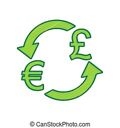 Currency exchange sign. Euro and UK Pound. Vector. Lemon scribble icon on white background. Isolated