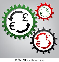 Currency exchange sign. Euro and UK Pound. Vector. Three connect