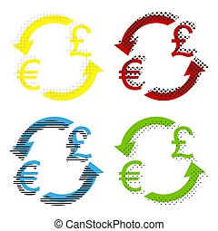 Currency exchange sign. Euro and UK Pound. Vector. Yellow, red,
