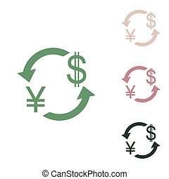 Currency exchange sign. Japan Yen and US Dollar. Russian green icon with small jungle green, puce and desert sand ones on white background. Illustration.