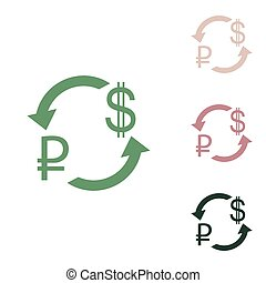 Currency exchange sign. Ruble and US Dollar. Russian green icon with small jungle green, puce and desert sand ones on white background. Illustration.