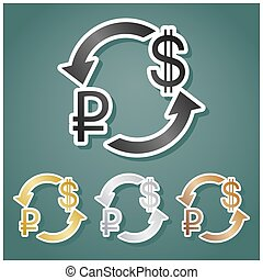 Currency exchange sign. Ruble and US Dollar. Set of metallic Icons with gray, gold, silver and bronze gradient with white contour and shadow at viridan background. Illustration.