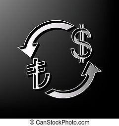 Currency exchange sign. Turkey Lira and US Dollar. Vector. Gray 3d printed icon on black background.