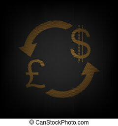Currency exchange sign. UK: Pound and US Dollar. Icon as grid of small orange light bulb in darkness. Illustration.
