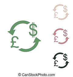 Currency exchange sign. UK: Pound and US Dollar. Russian green icon with small jungle green, puce and desert sand ones on white background. Illustration.