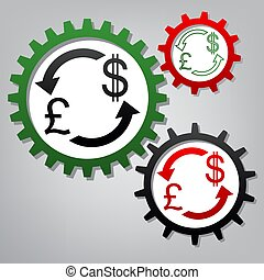 Currency exchange sign. UK: Pound and US Dollar. Vector. Three c