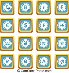 Currency from different countries icons azure