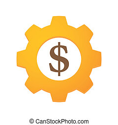 Currency gear - Illustration of an isolated gear with a...