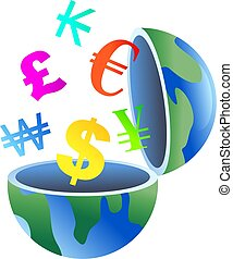 An open globe with currency symbols coming out of it.