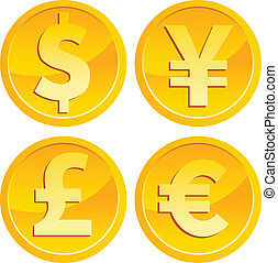 Currency Gold Coins - Vector set of shiny currency gold...