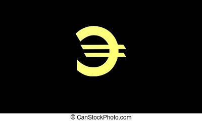 Currency golden euro color rotates on a black background -...