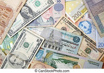 currency - group banknotes of different countries around the...