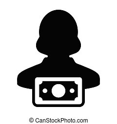 Currency icon vector female user person profile avatar with...