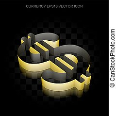Currency icon: Yellow 3d Dollar made of paper, transparent shadow, EPS 10 vector.