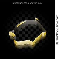 Currency icon: Yellow 3d Money Box made of paper, transparent shadow, EPS 10 vector.