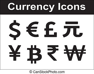 Currency icons set. Black over white background.