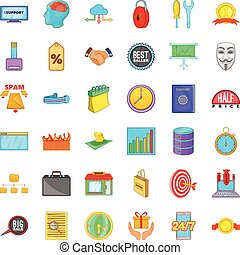 Currency icons set, cartoon style