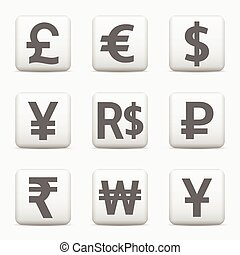 Currency icons set, web buttons