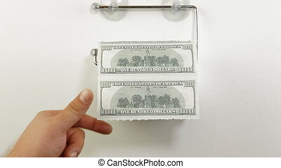 Hand taking sheets of dollar from a toilet roll