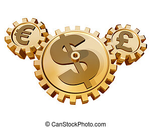 Currency Market - Several cogs representing how the global ...