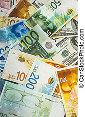 Currency on the table. - Dollars, euros and Israeli new ...