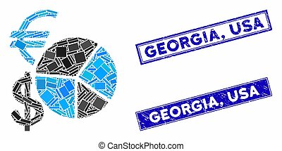 Currency Pie Chart Mosaic and Grunge Rectangle Georgia, USA Stamp Seals
